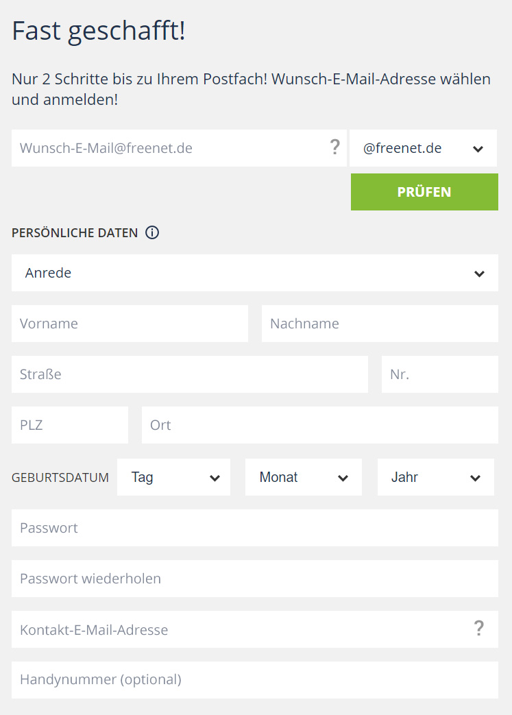 Freenetmail registrieren