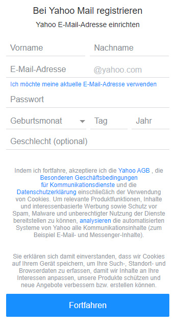 Yahoo Mail registrieren